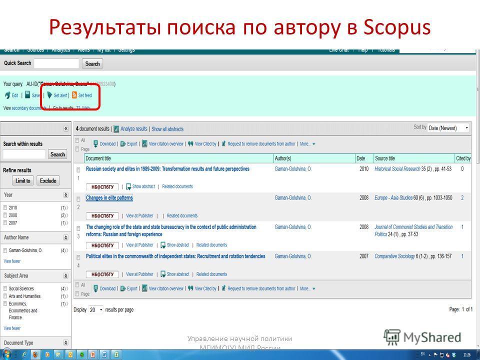 Результаты поиска по автору в Scopus Управление научной политики МГИМО(У) МИД России