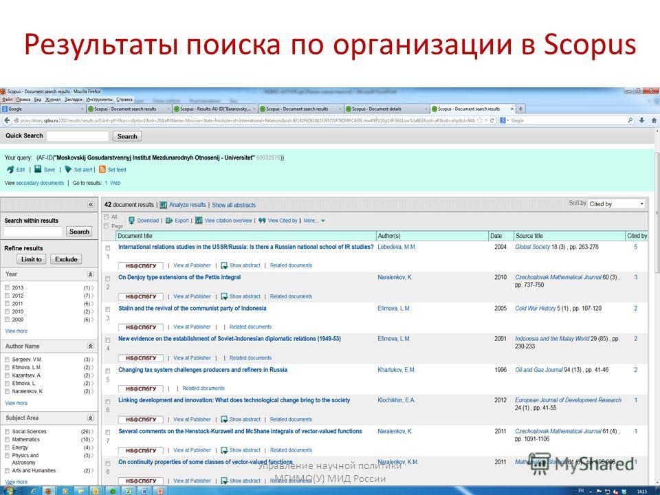 Результаты поиска по организации в Scopus Управление научной политики МГИМО(У) МИД России