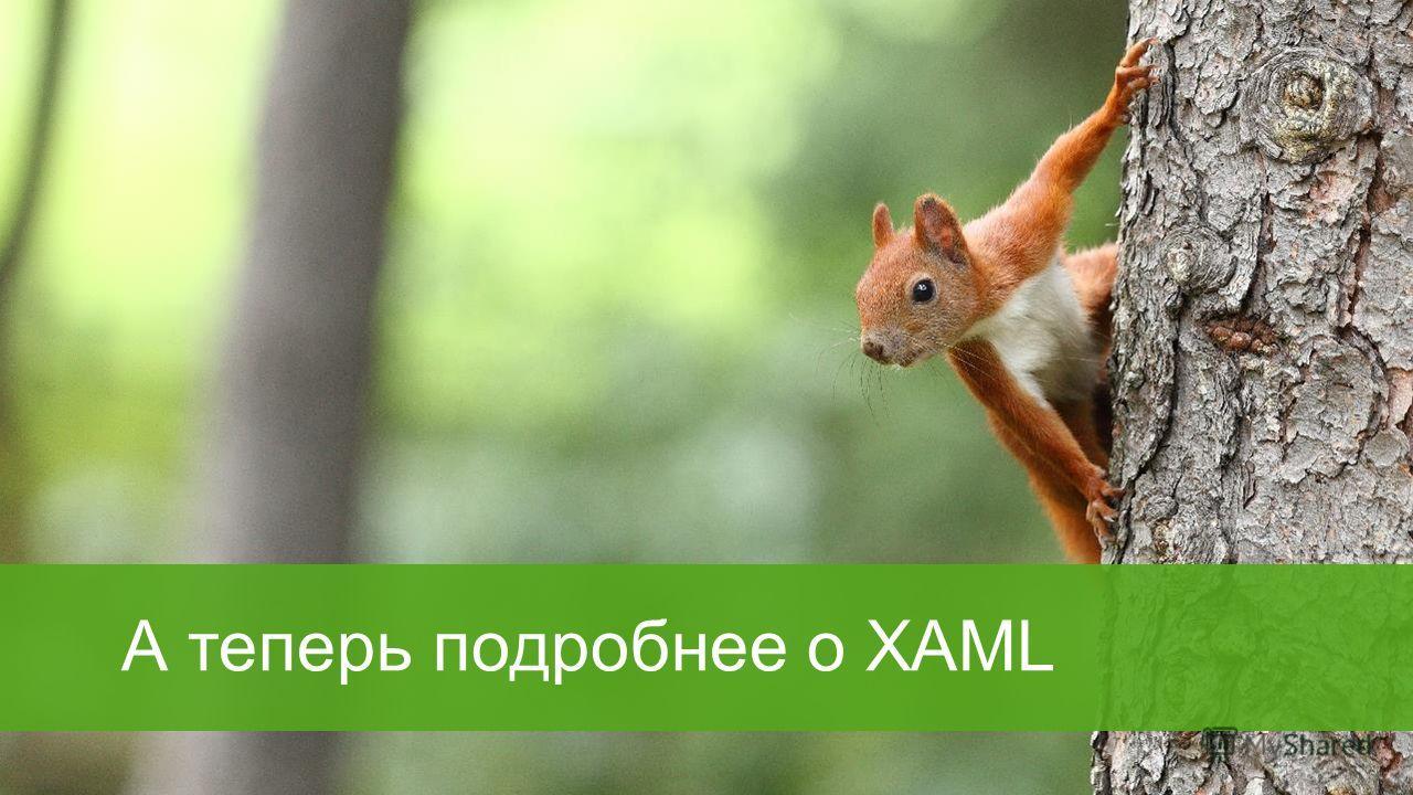 А теперь подробнее о XAML