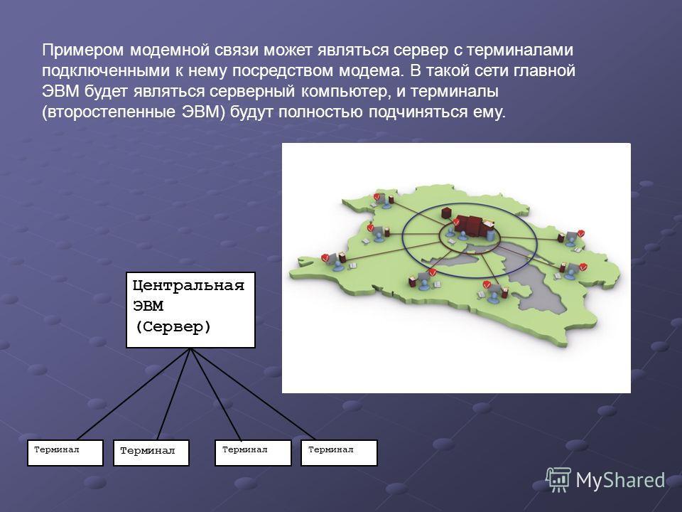 Терминал Примером модемной связи может являться сервер с терминалами подключенными к нему посредством модема. В такой сети главной ЭВМ будет являться серверный компьютер, и терминалы (второстепенные ЭВМ) будут полностью подчиняться ему. Центральная Э