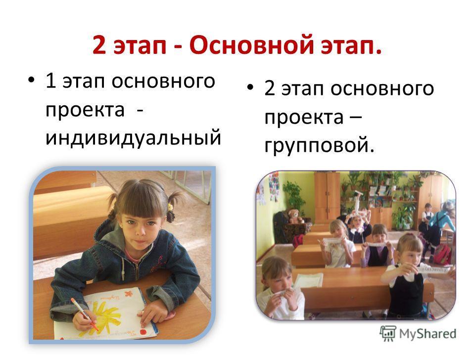 2 этап - Основной этап. 1 этап основного проекта - индивидуальный 2 этап основного проекта – групповой.