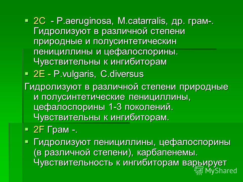2С - P.aeruginosa, M.catarralis, др. грам-. Гидролизуют в различной степени природные и полусинтетическин пенициллины и цефалоспорины. Чувствительны к ингибиторам 2С - P.aeruginosa, M.catarralis, др. грам-. Гидролизуют в различной степени природные и