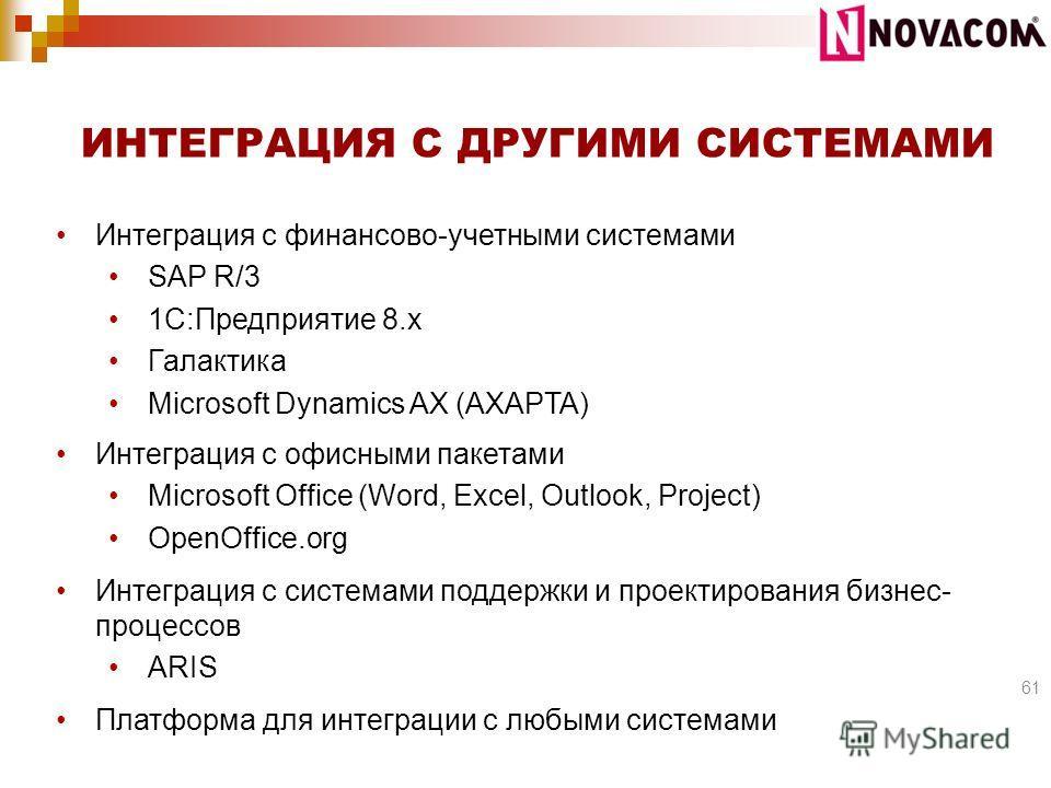 Интеграция с финансово-учетными системами SAP R/3 1C:Предприятие 8.x Галактика Microsoft Dynamics AX (AXAPTA) Интеграция с офисными пакетами Microsoft Office (Word, Excel, Outlook, Project) OpenOffice.org Интеграция с системами поддержки и проектиров