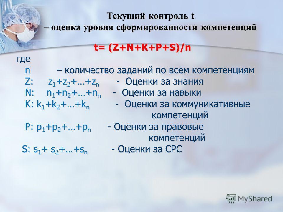 Текущий контроль t – оценка уровня сформированности компетенций t= (Z+N+K+P+S)/n где n – количество заданий по всем компетенциям n – количество заданий по всем компетенциям Z: z 1 +z 2 +…+z n - Оценки за знания Z: z 1 +z 2 +…+z n - Оценки за знания N