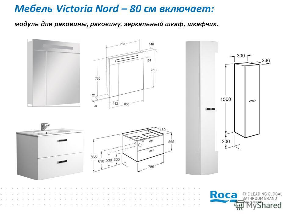 Мебель Victoria Nord – 80 см включает: модуль для раковины, раковину, зеркальный шкаф, шкафчик.