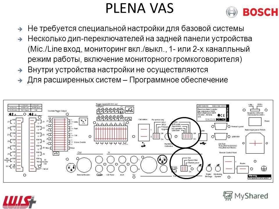 PLENA VAS Не требуется специальной настройки для базовой системы Несколько дип-переключателей на задней панели устройства (Mic./Line вход, мониторинг вкл./выкл., 1- или 2-х каналльный режим работы, включение мониторного громкоговорителя) Внутри устро