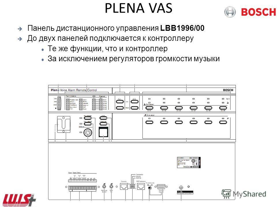 PLENA VAS Панель дистанционного управления LBB1996/00 До двух панелей подключается к контроллеру Те же функции, что и контроллер За исключением регуляторов громкости музыки