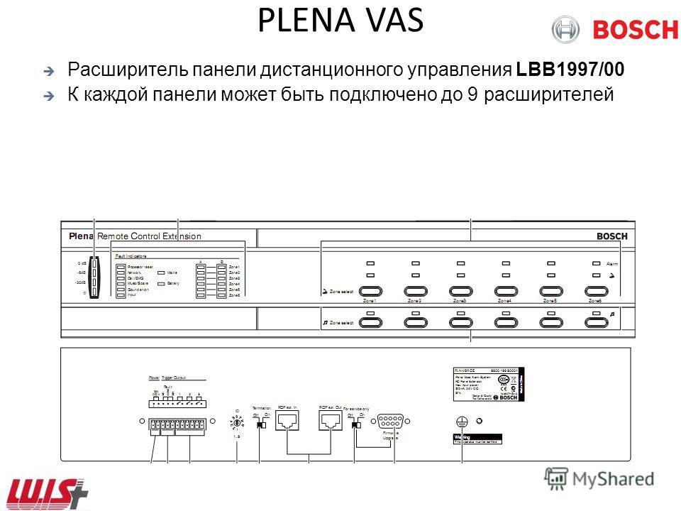 PLENA VAS Расширитель панели дистанционного управления LBB1997/00 К каждой панели может быть подключено до 9 расширителей