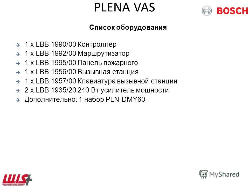 PLENA VAS Список оборудования 1 x LBB 1990/00 Контроллер 1 x LBB 1992/00 Маршрутизатор 1 x LBB 1995/00 Панель пожарного 1 x LBB 1956/00 Вызывная станция 1 x LBB 1957/00 Клавиатура вызывной станции 2 x LBB 1935/20 240 Вт усилитель мощности Дополнитель