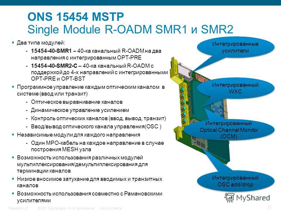 © 2007 Cisco Systems, Inc. All rights reserved.Cisco ConfidentialPresentation_ID 11 Два типа модулей: -15454-40-SMR1 – 40-ка канальный R-OADM на два направления с интегрированным OPT-PRE -15454-40-SMR2-C – 40-ка канальный R-OADM c поддержкой до 4-х н