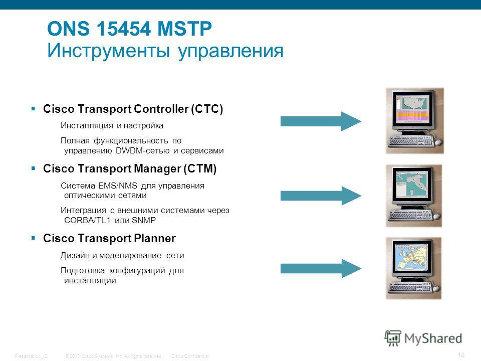 © 2007 Cisco Systems, Inc. All rights reserved.Cisco ConfidentialPresentation_ID 14 Cisco Transport Controller (CTC) Инсталляция и настройка Полная функциональность по управлению DWDM-сетью и сервисами Cisco Transport Manager (CTM) Система EMS/NMS дл