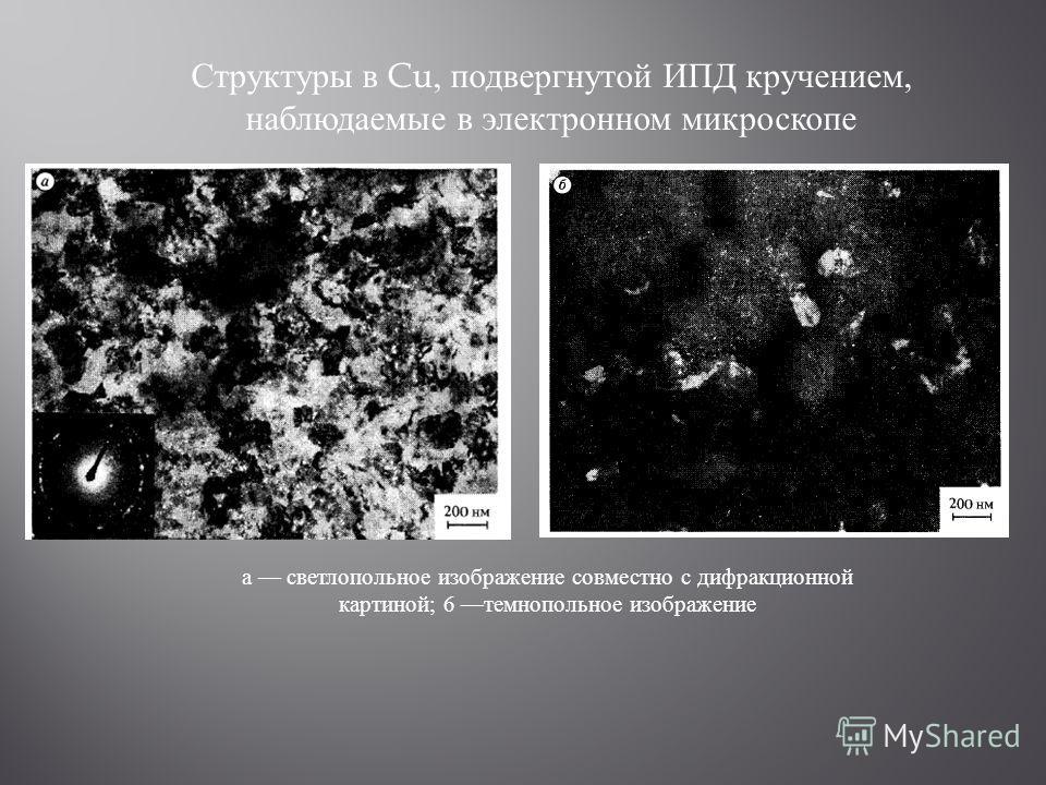 а светлопольное изображение совместно с дифракционной картиной; 6 темнопольное изображение Структуры в Cu, подвергнутой ИПД кручением, наблюдаемые в электронном микроскопе