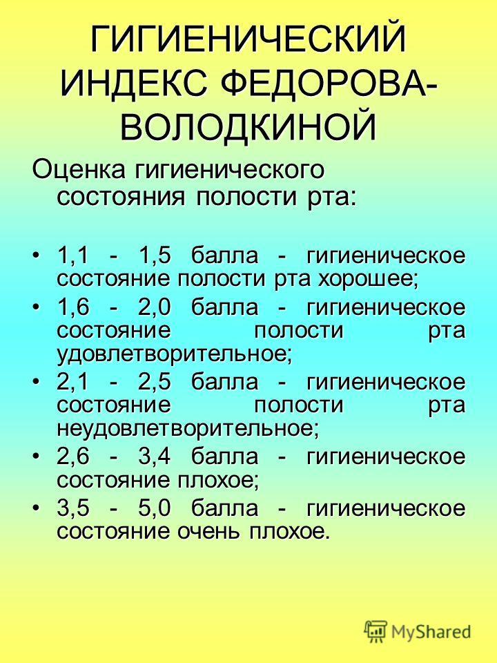 ГИГИЕНИЧЕСКИЙ ИНДЕКС ФЕДОРОВА- ВОЛОДКИНОЙ Оценка гигиенического состояния полости рта: 1,1 - 1,5 балла - гигиеническое состояние полости рта хорошее;1,1 - 1,5 балла - гигиеническое состояние полости рта хорошее; 1,6 - 2,0 балла - гигиеническое состоя