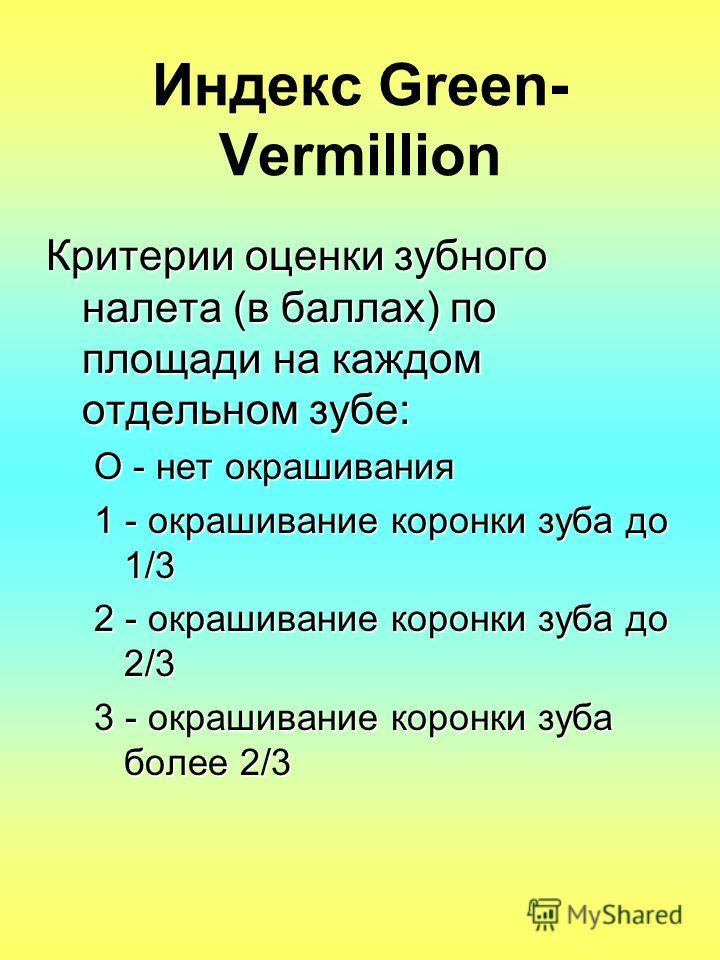 Индекс Green- Vermillion Критерии оценки зубного налета (в баллах) по площади на каждом отдельном зубе: О - нет окрашивания 1 - окрашивание коронки зуба до 1/3 2 - окрашивание коронки зуба до 2/3 3 - окрашивание коронки зуба более 2/3