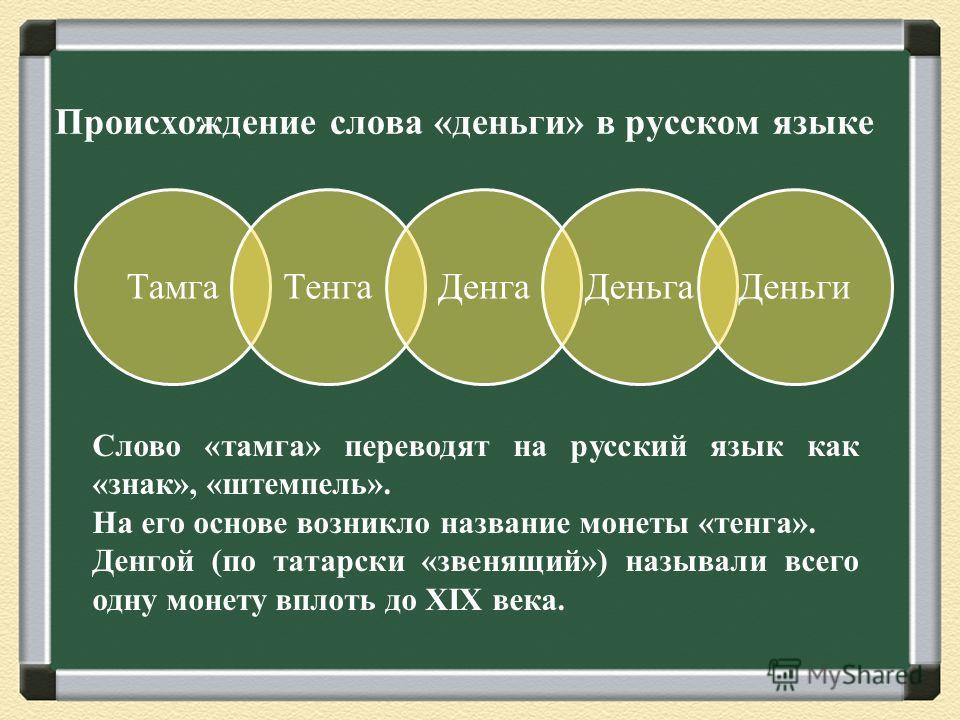 Происхождение слова «деньги» в русском языке ТамгаТенгаДенгаДеньгаДеньги Слово «тамга» переводят на русский язык как «знак», «штемпель». На его основе возникло название монеты «тенга». Денгой (по татарски «звенящий») называли всего одну монету вплоть