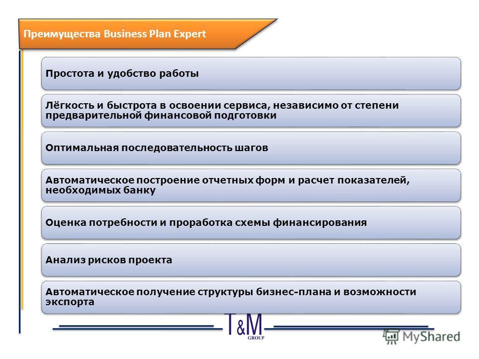 12 Преимущества Business Plan Expert Простота и удобство работы Лёгкость и быстрота в освоении сервиса, независимо от степени предварительной финансовой подготовки Оптимальная последовательность шагов Автоматическое построение отчетных форм и расчет