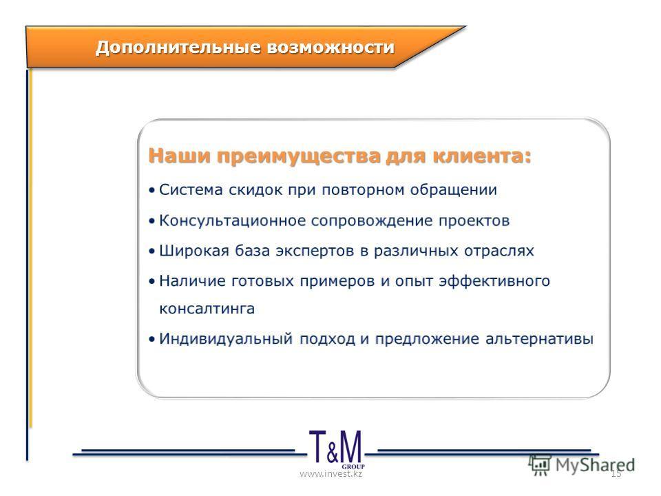 www.invest.kz Дополнительные возможности 15