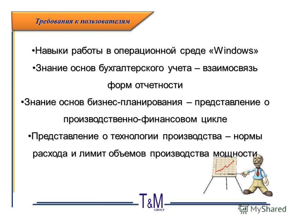 Навыки работы в операционной среде «Windows»Навыки работы в операционной среде «Windows» Знание основ бухгалтерского учета – взаимосвязь форм отчетностиЗнание основ бухгалтерского учета – взаимосвязь форм отчетности Знание основ бизнес-планирования –