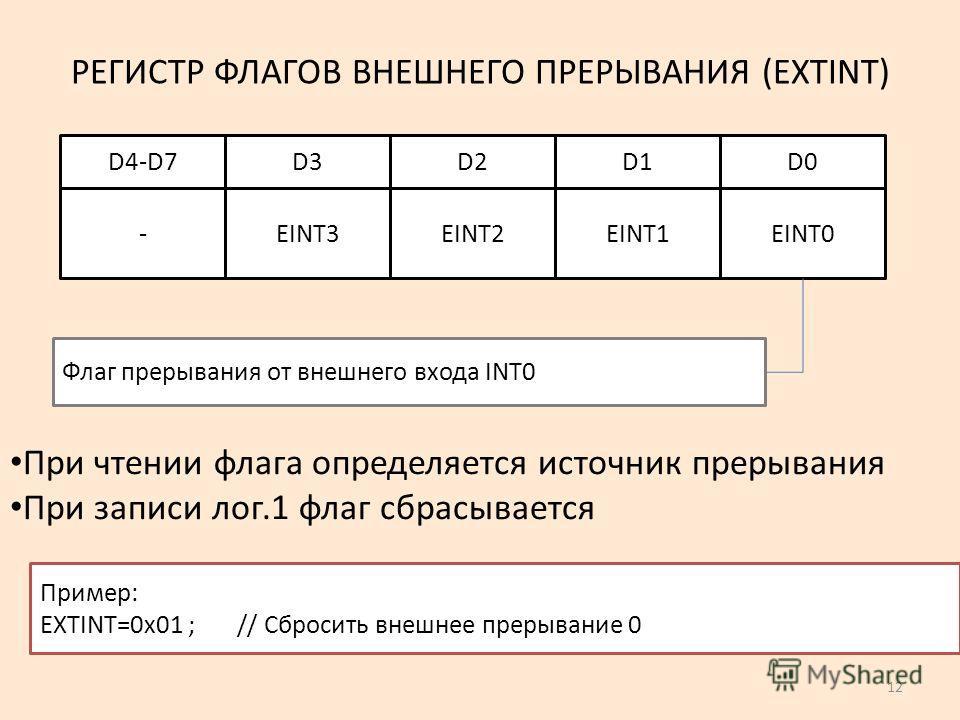 12 РЕГИСТР ФЛАГОВ ВНЕШНЕГО ПРЕРЫВАНИЯ (EXTINT) EINT0EINT1EINT2EINT3- D0D1D2D3D4-D7 Флаг прерывания от внешнего входа INT0 Пример: EXTINT=0x01 ; // Сбросить внешнее прерывание 0 При чтении флага определяется источник прерывания При записи лог.1 флаг с