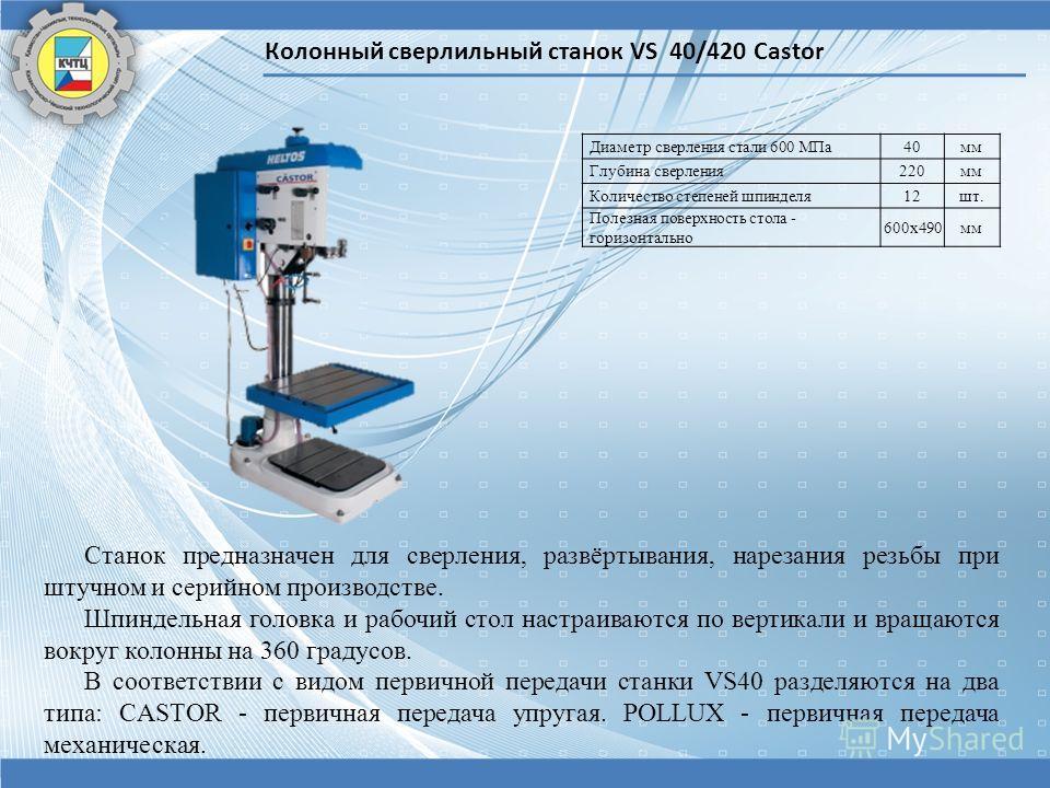 Колонный сверлильный станок VS 40/420 Castor Диаметр сверления стали 600 МПа40мм Глубина сверления220мм Количество степеней шпинделя12шт. Полезная поверхность стола - горизонтально 600х490мм Станок предназначен для сверления, развёртывания, нарезания