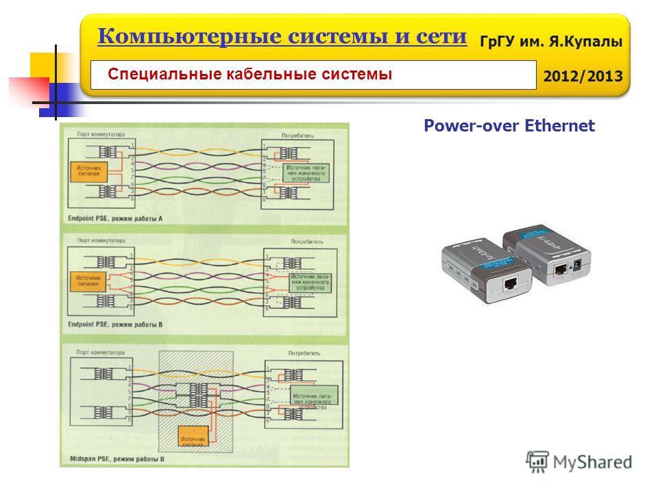 ГрГУ им. Я.Купалы 2012/2013 Компьютерные системы и сети Power-over Ethernet Специальные кабельные системы