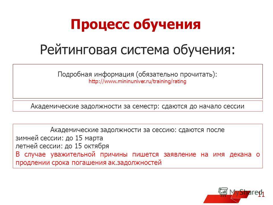 Процесс обучения 11 Рейтинговая система обучения: Подробная информация (обязательно прочитать): http://www.mininuniver.ru/training/rating Академические задолжности за семестр: сдаются до начало сессии Академические задолжности за сессию: сдаются посл