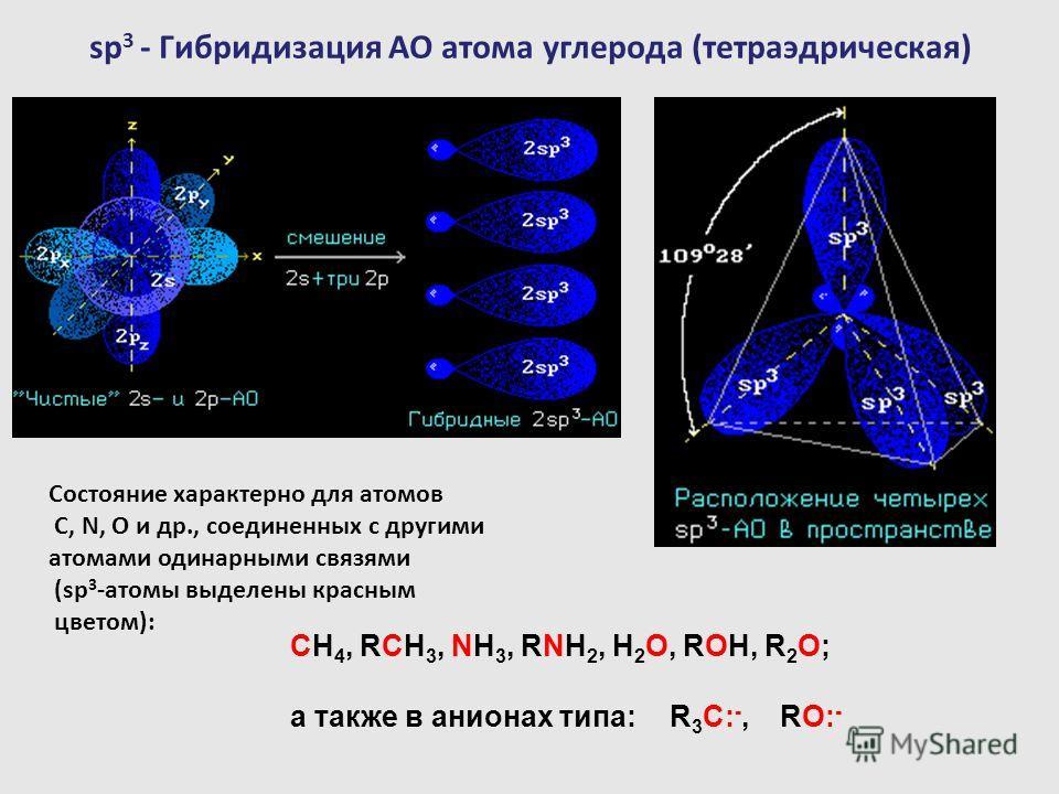 sp 3 - Гибридизация АО атома углерода (тетраэдрическая) Состояние характерно для атомов С, N, O и др., соединенных с другими атомами одинарными связями (sp 3 -атомы выделены красным цветом): СH 4, RCH 3, NH 3, RNH 2, H 2 O, ROH, R 2 O; а также в анио