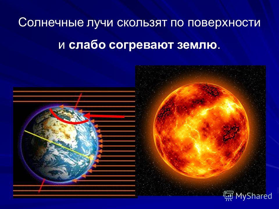 Солнечные лучи скользят по поверхности и слабо согревают землю.