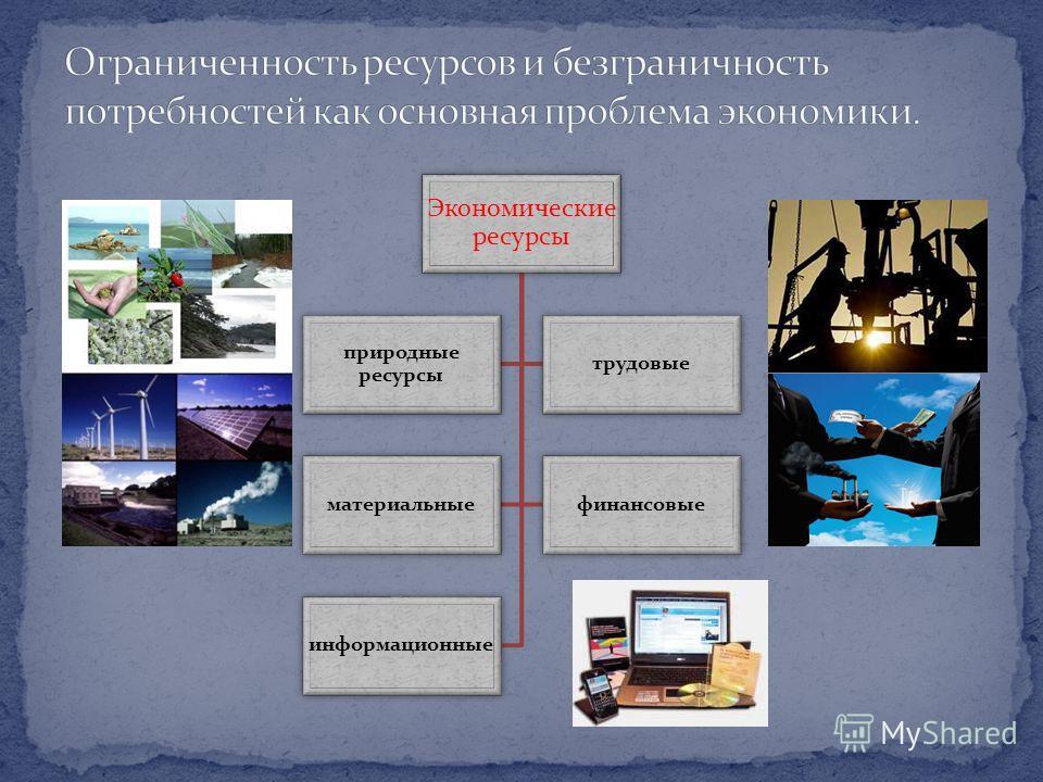 Экономические ресурсы природные ресурсы трудовые материальныефинансовые информационные