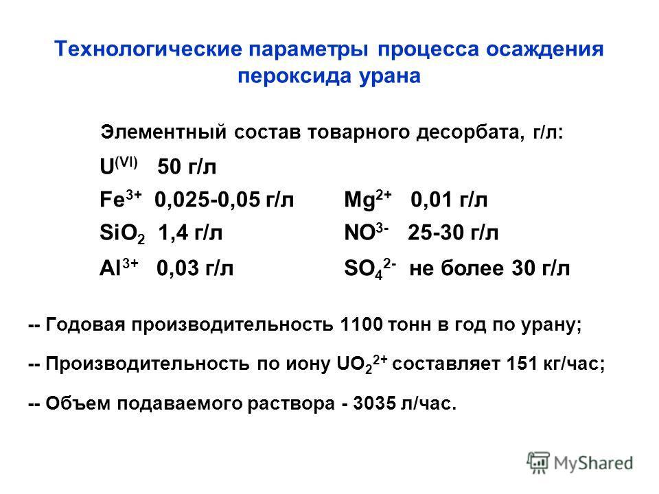 Технологические параметры процесса осаждения пероксида урана Элементный состав товарного десорбата, г/л : -- Годовая производительность 1100 тонн в год по урану; -- Производительность по иону UO 2 2+ составляет 151 кг/час; -- Объем подаваемого раство