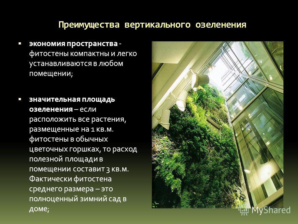 Преимущества вертикального озеленения экономия пространства - фитостены компактны и легко устанавливаются в любом помещении; значительная площадь озеленения – если расположить все растения, размещенные на 1 кв.м. фитостены в обычных цветочных горшках