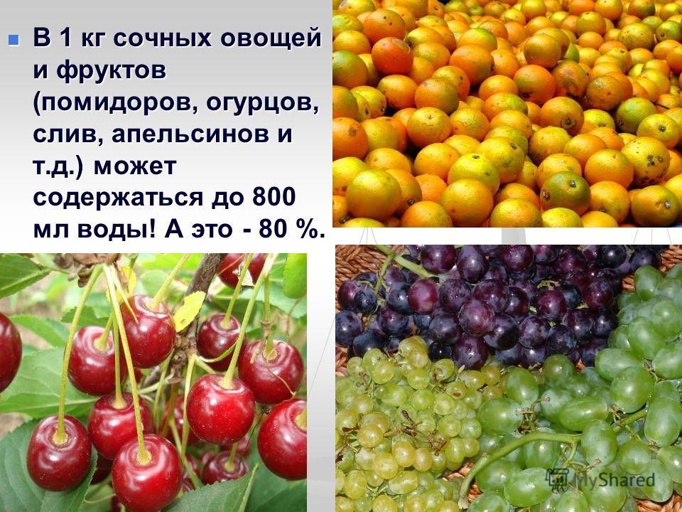 В 1 кг сочных овощей и фруктов (помидоров, огурцов, слив, апельсинов и т.д.) может содержаться до 800 мл воды! А это - 80 %. В 1 кг сочных овощей и фруктов (помидоров, огурцов, слив, апельсинов и т.д.) может содержаться до 800 мл воды! А это - 80 %.