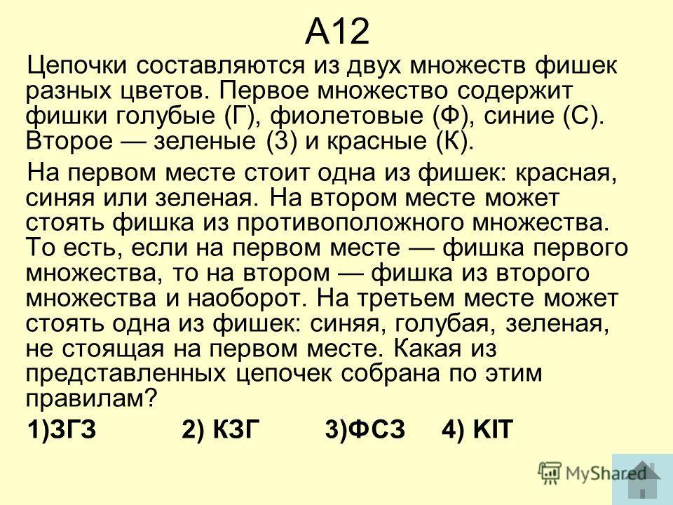 А12 Цепочки составляются из двух множеств фишек разных цветов. Первое множество содержит фишки голубые (Г), фиолетовые (Ф), синие (С). Второе зеленые (3) и красные (К). На первом месте стоит одна из фишек: красная, синяя или зеленая. На втором месте