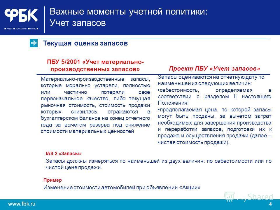 4 www.fbk.ru Текущая оценка запасов Важные моменты учетной политики: Учет запасов ПБУ 5/2001 «Учет материально- производственных запасов» Материально-производственные запасы, которые морально устарели, полностью или частично потеряли свое первоначаль