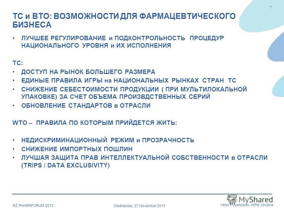Wednesday, 27 November 2013 Viktor Poushkarev, AIPM Ukraine KZ PHARMFORUM 2013 ЛУЧШЕЕ РЕГУЛИРОВАНИЕ и ПОДКОНТРОЛЬНОСТЬ ПРОЦЕДУР НАЦИОНАЛЬНОГО УРОВНЯ и ИХ ИСПОЛНЕНИЯ ТС: ДОСТУП НА РЫНОК БОЛЬШЕГО РАЗМЕРА ЕДИНЫЕ ПРАВИЛА ИГРЫ на НАЦИОНАЛЬНЫХ РЫНКАХ СТРАН