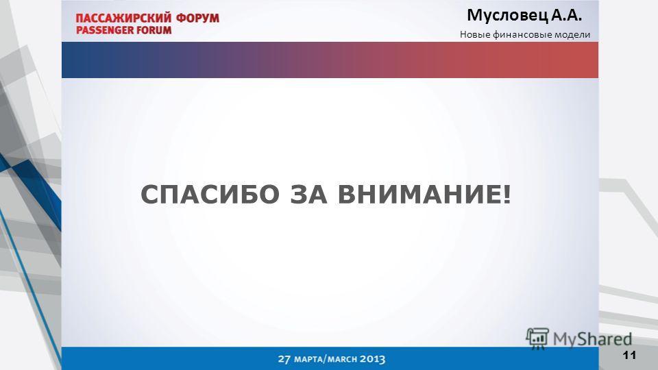 Мусловец А.А. Новые финансовые модели 11 СПАСИБО ЗА ВНИМАНИЕ!