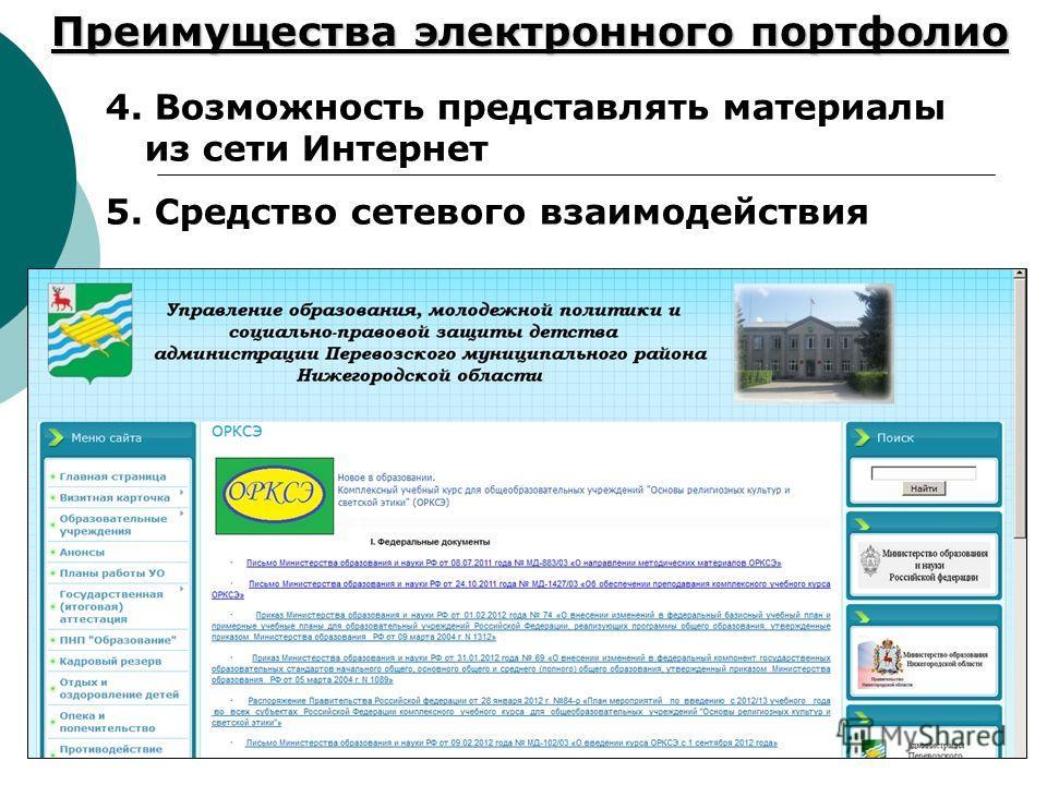 Преимущества электронного портфолио 4. Возможность представлять материалы из сети Интернет 5. Средство сетевого взаимодействия