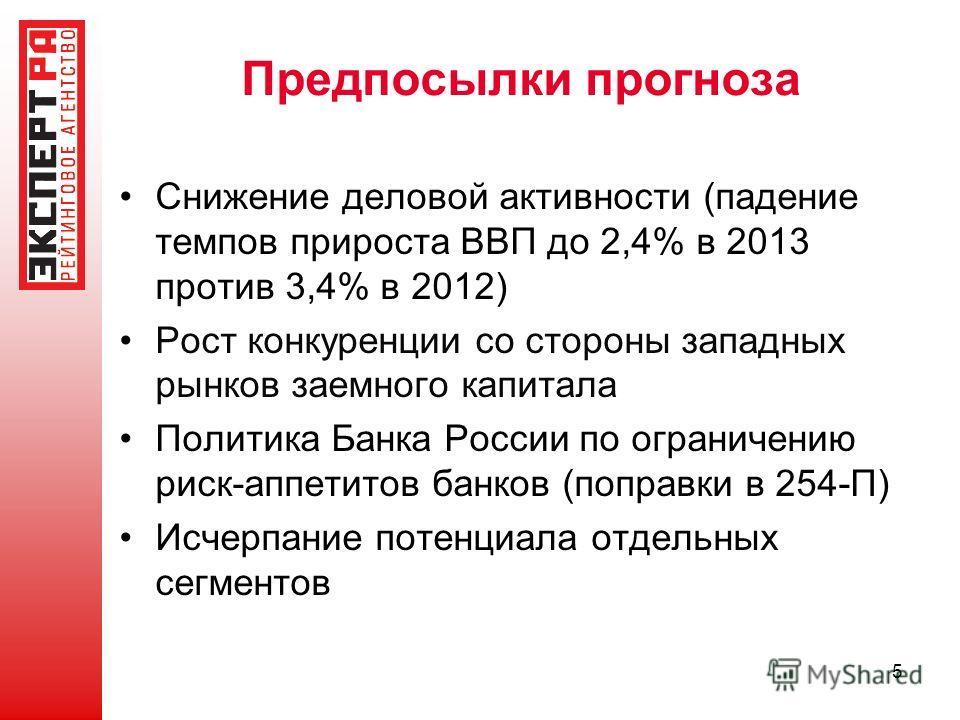Предпосылки прогноза Снижение деловой активности (падение темпов прироста ВВП до 2,4% в 2013 против 3,4% в 2012) Рост конкуренции со стороны западных рынков заемного капитала Политика Банка России по ограничению риск-аппетитов банков (поправки в 254-