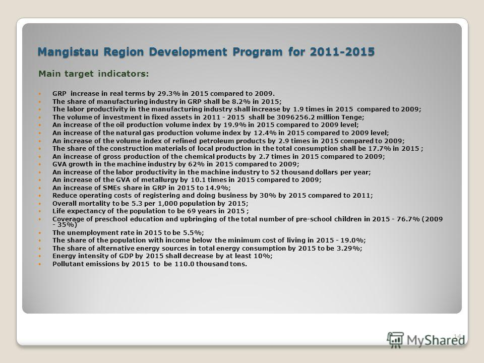 Mangistau Region Development Program for 2011-2015 Main target indicators: GRP increase in real terms by 29.3% in 2015 compared to 2009. The share of manufacturing industry in GRP shall be 8.2% in 2015; The labor productivity in the manufacturing ind