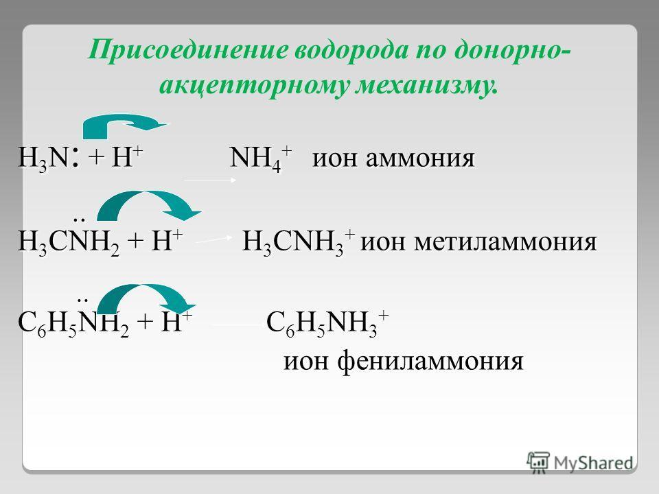 Присоединение водорода по донорно- акцепторному механизму. H 3 N : + H + NH 4 + ион аммония.... H 3 CNH 2 + H + H 3 CNH 3 + ион метиламмония.... C 6 H 5 NH 2 + H + C 6 H 5 NH 3 + ион фениламмония ион фениламмония