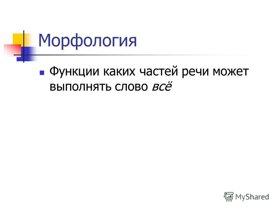 Морфология Функции каких частей речи может выполнять слово всё