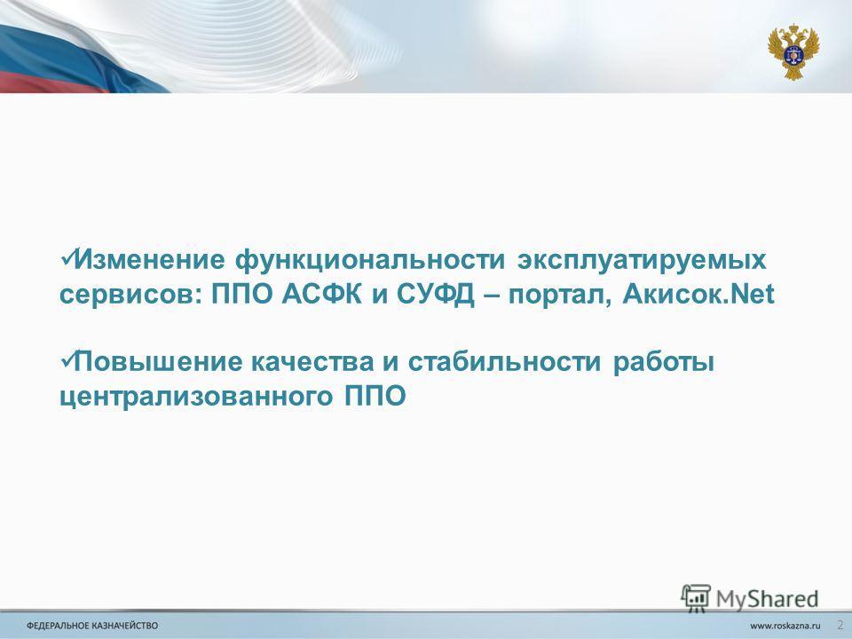 Изменение функциональности эксплуатируемых сервисов: ППО АСФК и СУФД – портал, Акисок.Net Повышение качества и стабильности работы централизованного ППО 2