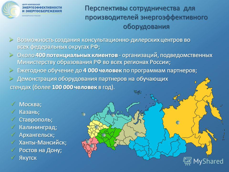 Перспективы сотрудничества для производителей энергоэффективного оборудования Возможность создания консультационно-дилерских центров во всех федеральных округах РФ; Возможность создания консультационно-дилерских центров во всех федеральных округах РФ