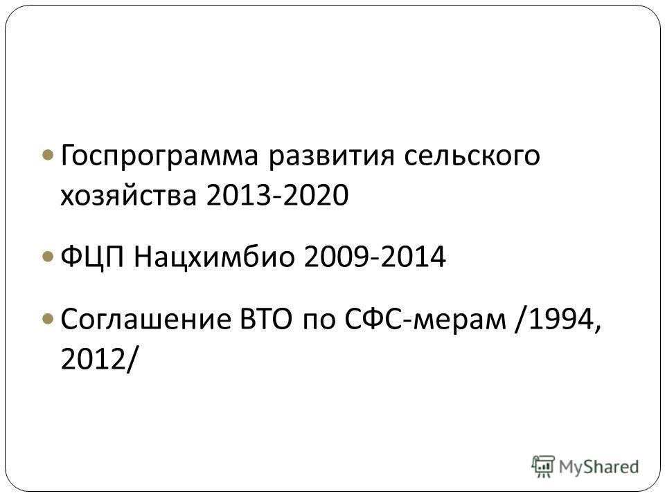 Госпрограмма развития сельского хозяйства 2013-2020 ФЦП Нацхимбио 2009-2014 Соглашение ВТО по СФС - мерам /1994, 2012/