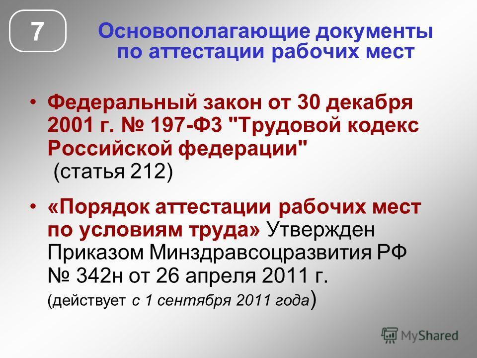 Основополагающие документы по аттестации рабочих мест 7 Федеральный закон от 30 декабря 2001 г. 197-Ф3