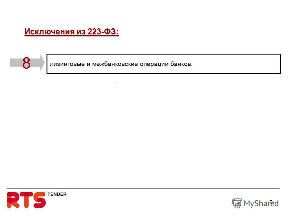 лизинговые и межбанковские операции банков. 8 Исключения из 223-ФЗ: Исключения из 223-ФЗ: 15