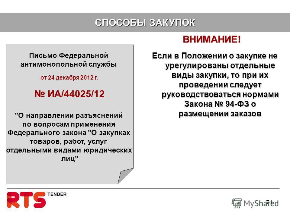 ВНИМАНИЕ! ВНИМАНИЕ! 71 Письмо Федеральной антимонопольной службы от 24 декабря 2012 г. ИА/44025/12