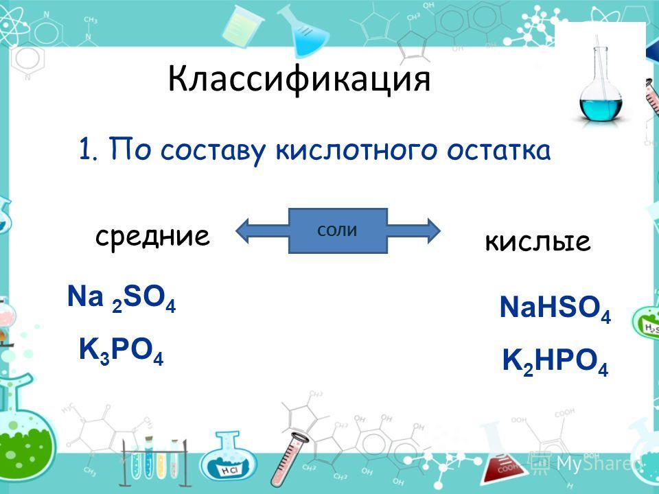 Классификация 1. По составу кислотного остатка СОЛИ средние кислые Na 2 SO 4 K 3 PO 4 NaHSO 4 K 2 HPO 4