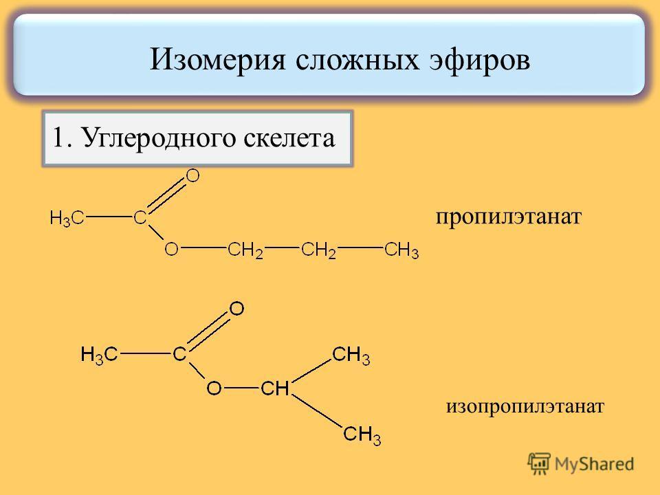 пропилэтанат изопропилэтанат Изомерия сложных эфиров 1. Углеродного скелета