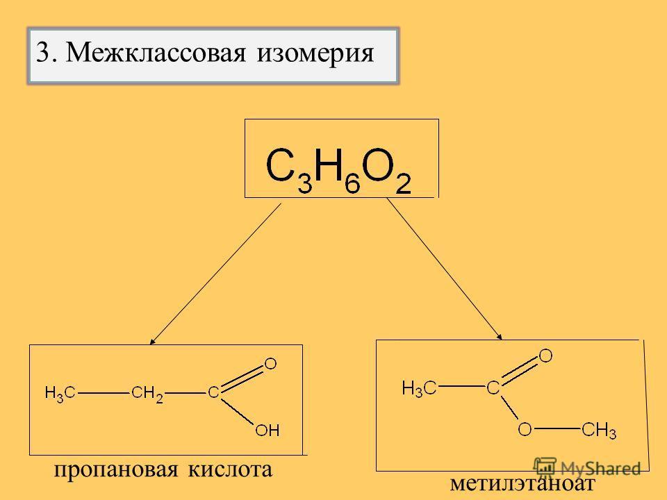пропановая кислота метилэтаноат 3. Межклассовая изомерия